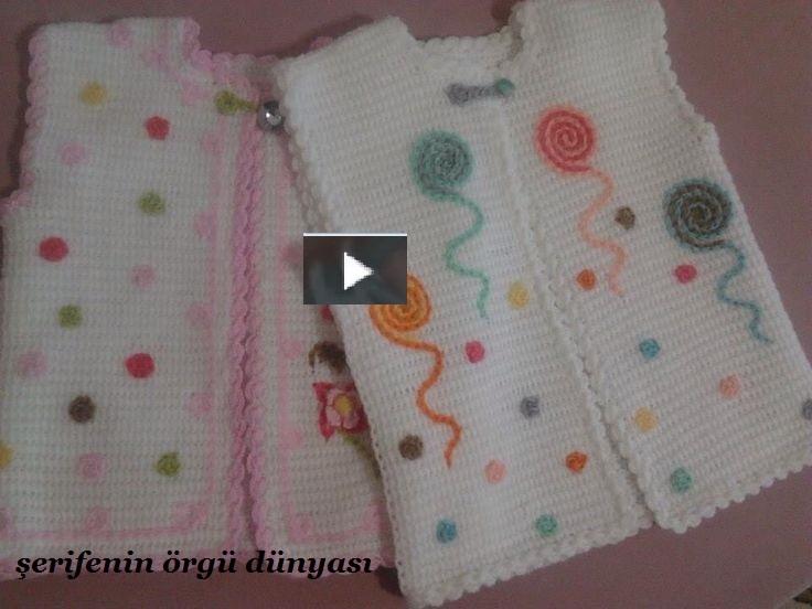 Tunus İşi Bal Peteği Örnekli Bebek Yeleği Yapımı