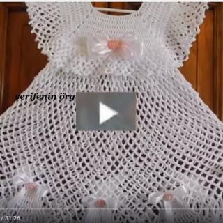 tığ örgü kız bebek elbise modeli