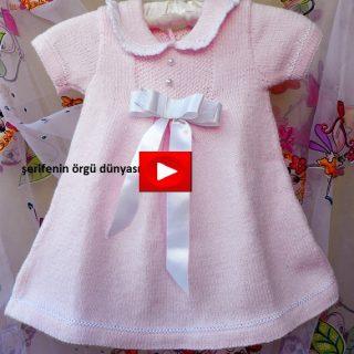 acik-pembe-orgu-bebek-elbisesi