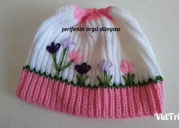 İşlemeli Selanik Örgü Bebek Şapkası Nasıl Yapılır