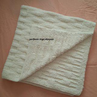 kadife iple örülmüş bulmaca modeli bebek battaniye modeli (1)