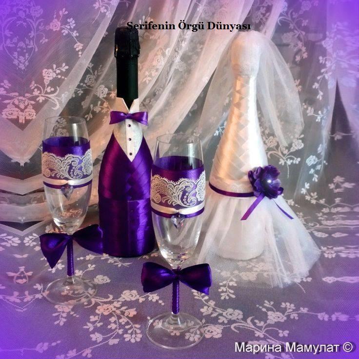 Фужеры и шампанское на свадьбу своими руками фото