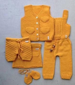 en şirin sarı renkli bebek yelek süveter modelleri (1)