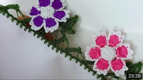 çiçek motifli tığ oya modeli