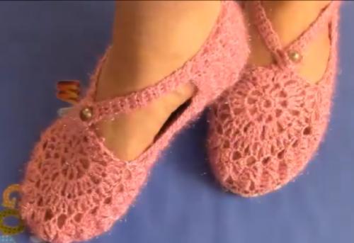 örgü sandalet patik modeli