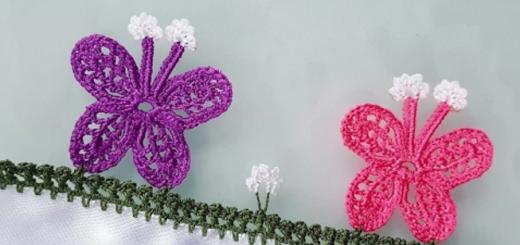 kanatlı kelebek tığ oya modeli