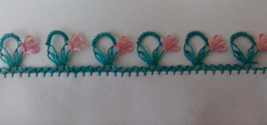 sepet kenarındaki çiçek iğne oyası modeli