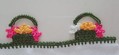 sepette çiçek tığ oyası yapımı
