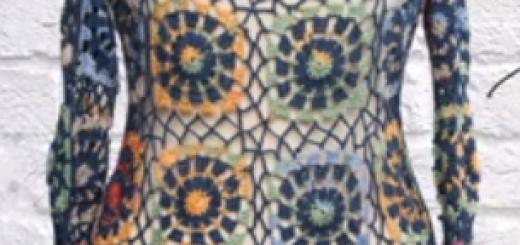 tığ işi renkli motifli bluz modeli