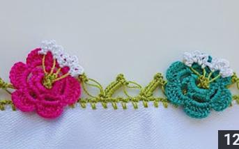 tomurcuklu çiçekler tığ oyası