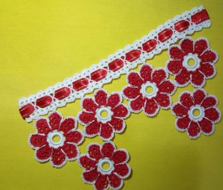 çiçek motifli havlu kenarı modeli