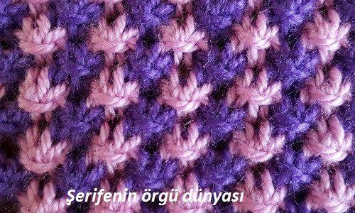 iki renkli kır çiçekleri örgü modeli (4)