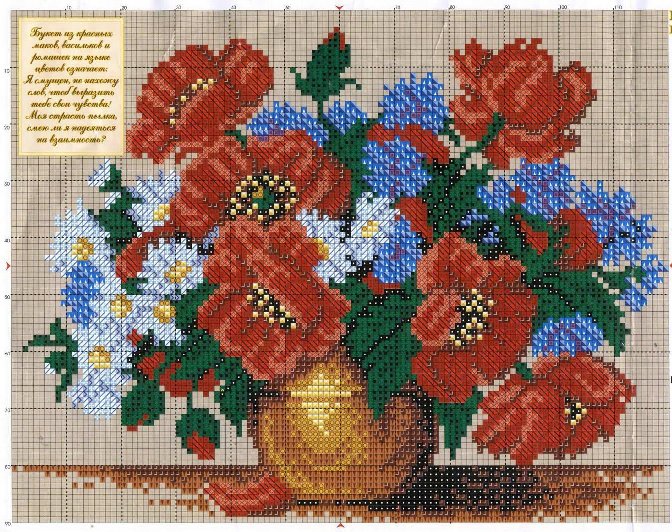 Вышивка цветов и букетов крестиком 667