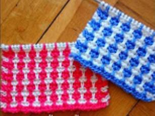 mozaik şeritler iki renkli örgü modeli