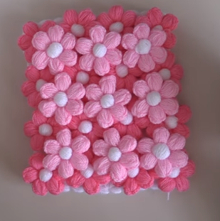 pembe puf çiçekli kese lif yapımı