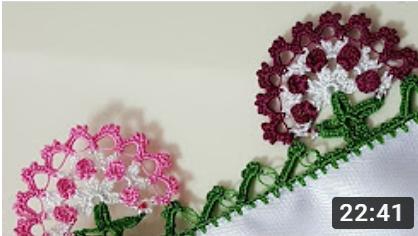 çiçekli namaz örtüsü veya havlu kenarı modeli