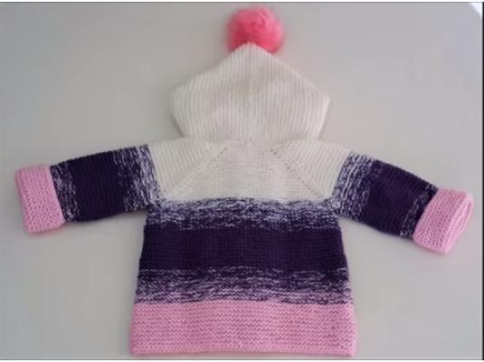 Renk Geçişli Kapşonlu Bebek Hırkası