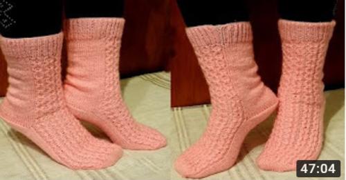 5 şişle örgü çorap modeli