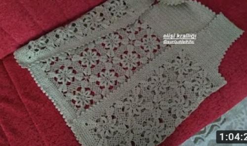 tığ işi çiçekli motifli yelek yapımı