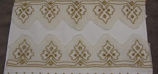 çınar yaprağı tığ işi havlu kenarı modeli