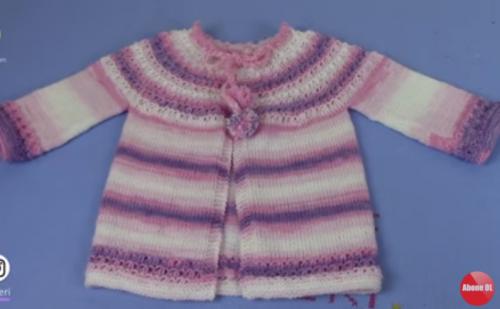 Batik iple yıldızlar robalı bebek hırkası modeli