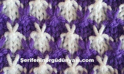 iki renkli tavşan kulağı örgü modeli (3)