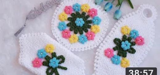 üçlü çeyizlik çiçekli lif yapımı