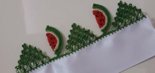 karpuz dilimli dantel mutfak havlusu modeli