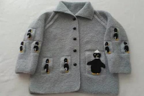penguen erkek çocuk hırkası yapımı