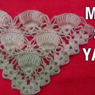 tığ işi üçgen midye şal modeli yapımı