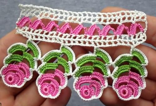 tomurcuk güllü dantel havlu kenarı modeli yapımı