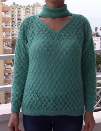 V yaka boğazlı modern örgü bayan kazak modelli