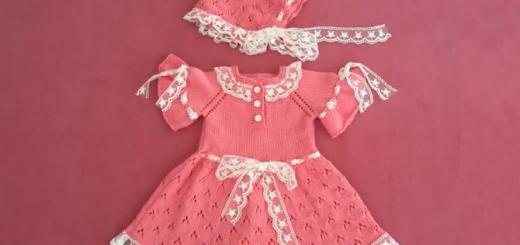 dantelli kız bebek elbise ve şapka modeli