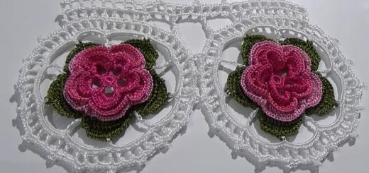 göbekli çiçekli tığ işi dantel havlu modeli