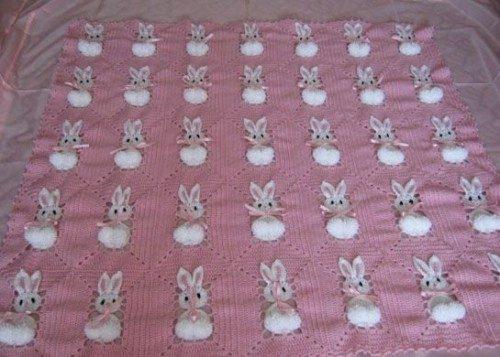 tığ işi tavşanlı bebek battaniyesi modeli (5)