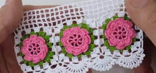 gül motifli tığ işi havlu modeli