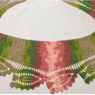 kenarı dantel görünümlü baktüs şal yapımı
