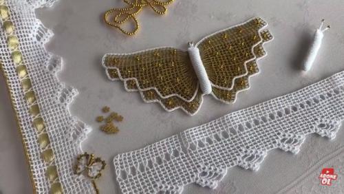 göbekli kelebek desenli tığ havlu yapımı