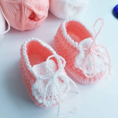 neşeli ayaklar tığ işi bebek patiği yapımı (2)