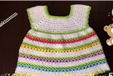 tığ işi laleli kız çocuk elbise yapımı