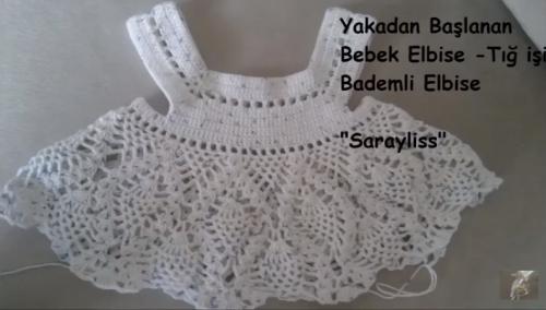 yakadan başlanan bademli kız bebek elbise yapımı