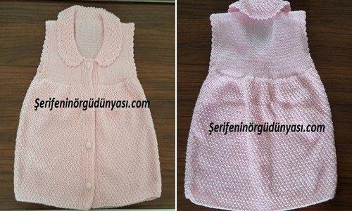 jile olarak kullanılabilen kız bebek yeleği yapımı (11-tile