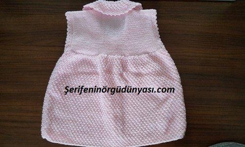 jile olarak kullanılabilen kız bebek yeleği yapımı (3)