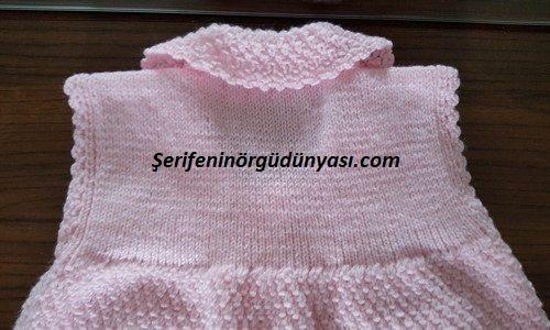 jile olarak kullanılabilen kız bebek yeleği yapımı (5)