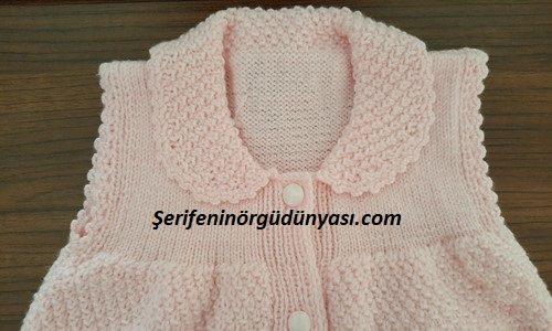jile olarak kullanılabilen kız bebek yeleği yapımı (6)
