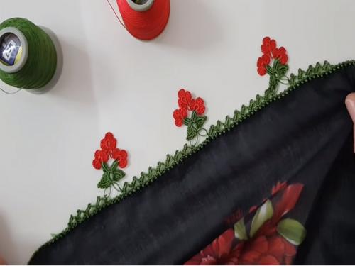 Tığ Oyası Salkım Çiçek Modeli Yapılışı Anlatımlı Türkçe Videolu